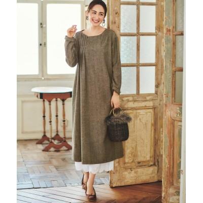 大きいサイズ へリンボーン素材ワンピース(オトナスマイル) ,スマイルランド, ワンピース, plus size dress