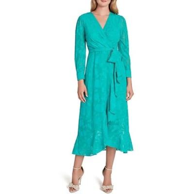 タハリエーエスエル  レディース ワンピース トップス Floral Burnout Faux Wrap Long Sleeve Ruffle Front Midi Dress Dynasty Green