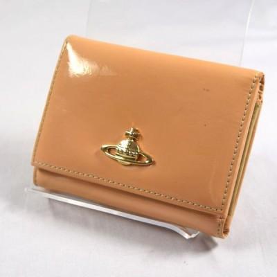 Vivienne Westwood / ヴィヴィアンウエストウッド  オーブ 三つ折りがま口財布 エナメルレザー ベージュ ブランド 中古