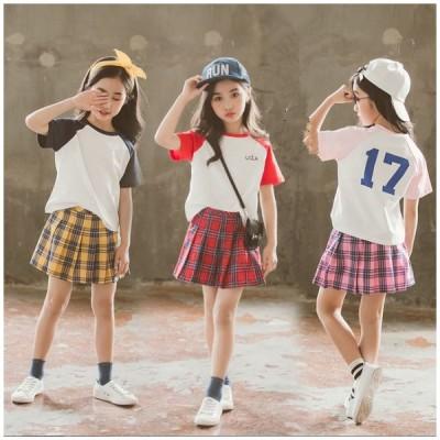 韓国子供服 女の子 セットアップ tシャツ スカート キッズ 夏服  上下セット 遠足 ファッション 通学 お出かけ 海外旅行 90 100 110 120 130 140 150 160cm