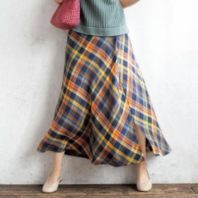 ファッション スカート プリント 柄スカート 近江麻混 バイアスチェック フレアスカート 227902
