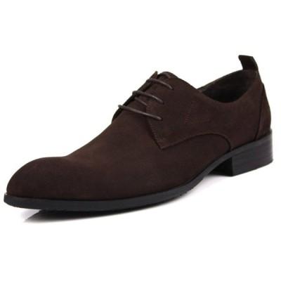 W メンズ ビジネスシューズ スエード チャッカブーツ 本革 革靴 紳士靴 プレーントゥ レースアップ 定番のシューズ オフィス カジュアル(コーヒー)036-704