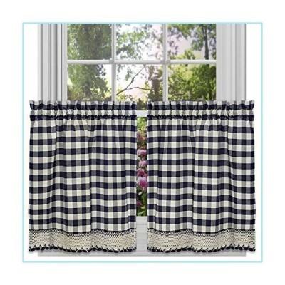新品GoodGram Buffalo Check Plaid Gingham Custom Fit Farmhouse Caf〓 Styled Window Tier Curtain Treatments - Assorted Colors & Sizes (Navy