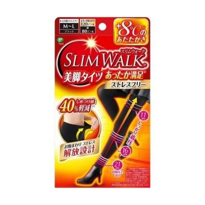 【まとめ買い3個セット】スリムウォーク 美脚タイツ あったか満足 M〜L ブラック 1足入