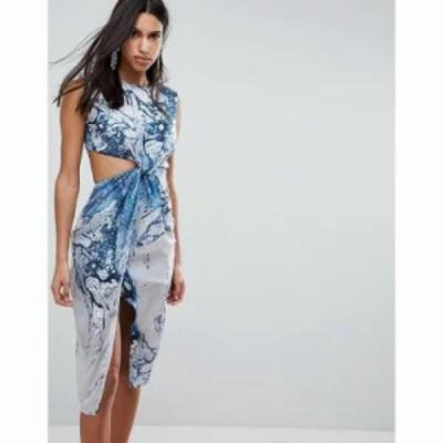 エイソス ワンピース Twist Front Midi Pencil Dress in Abstract Print Multi