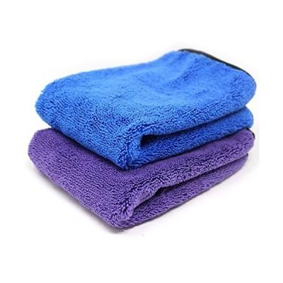 【改良版】 超吸水 大判 厚手 マイクロファイバー 速乾 タオル 車 洗車 磨き上げ 拭き取り タオル 室内 掃除 2点