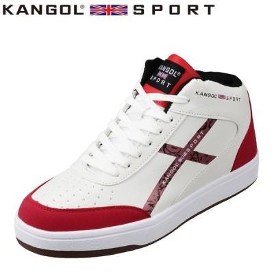 カンゴールスポーツ KANGOL SPORT KG3422A メンズ   スニーカー   ミッドカット   軽量 軽い   ホワイト×レッド