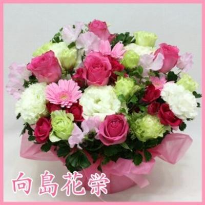 ピンクバラ・ガーベラ・トルコキキョウのギュッと詰まった感じのアレンジメント 誕生日 記念日 お祝い