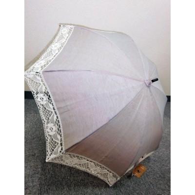 日傘 麻100%両面トーション白レース 表:グレー/裏:黄 UV加工 傘の長さ67.5cm 親骨50cm モンブラン社 日本製