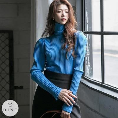 「DINT」★送料無料★E2344 パフ リブニットタートルネックトップ セレブ系オフィススタイル 韓国ファッションブランドDINTのオシャレなオフィススタイル提案!