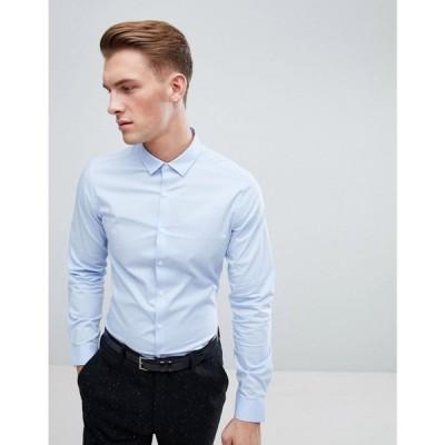 エイソス メンズ シャツ トップス Stretch Slim Formal Work Shirt In Blue Blue