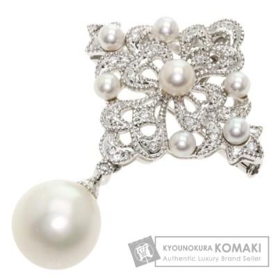 ジュエリー パール 真珠 ダイヤモンド ネックレス  K14ホワイトゴールド  中古