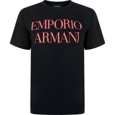 アルマーニ EMPORIO ARMANI レディース Tシャツ ロゴTシャツ トップス Logo Short Sleeved T Shirt Black