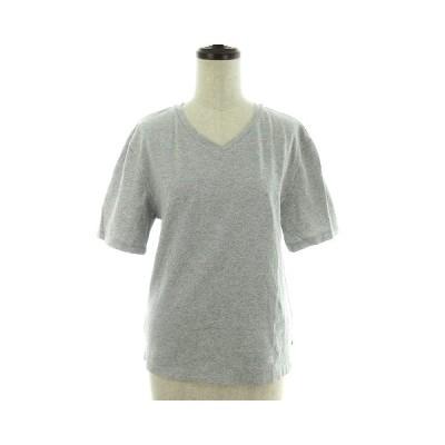 【中古】グローバルワーク GLOBAL WORK Tシャツ カットソー Vネック 半袖 薄手 コットン 無地 S グレー トップス /NF レディース 【ベクトル 古着】