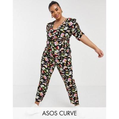 エイソス ASOS Curve レディース オールインワン ジャンプスーツ Asos Design Curve Ruched Sleeve Peg Leg Jumpsuit In Floral Print フローラル