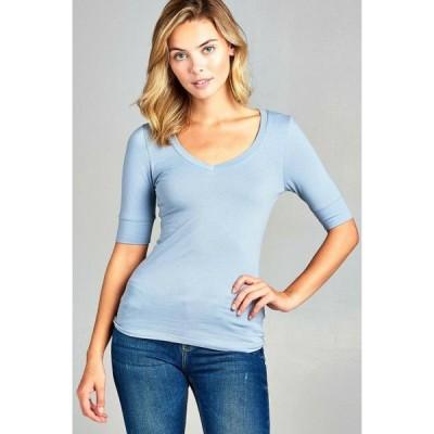 レディース 衣類 トップス Women's Basic Elbow Sleeve V-Neck Short Sleeve T-Shirt Stretchy Top Half Sleeve Several Colors
