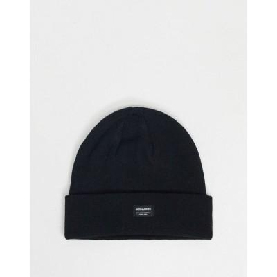 ジャック アンド ジョーンズ メンズ 帽子 アクセサリー Jack & Jones knitted beanie in black Black
