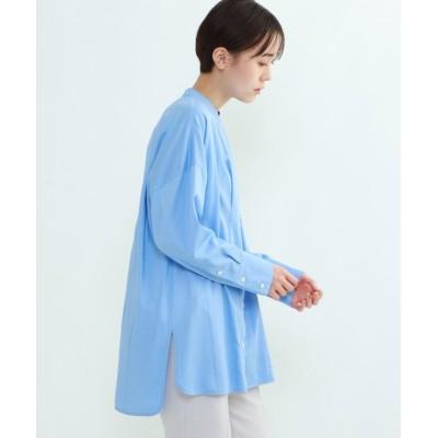 【インディヴィ】 パウダーサテンタックシャツ レディース サックス 34(S) INDIVI