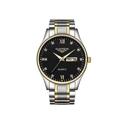 【新品・送料無料】GUANQIN 腕時計 アナログ クオーツ メンズ ステンレススチール 時計 日付 曜日 夜光 防水 おしゃれ ウォッチ (シルバーゴールドブラック)