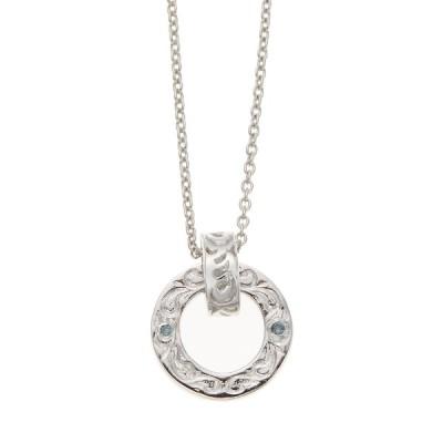 ネックレス ハワジュ シルバー925製 ブルーダイヤモンド リング スクロール 50cm メンズ