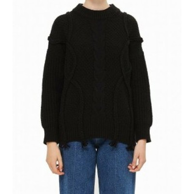 Topshop トップショップ ファッション トップス TopShop NEW Black Womens Size 4 Cable Knit Knitted Wool Sweater