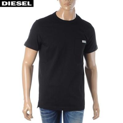 ディーゼル DIESEL クルーネックTシャツ 半袖 メンズ T-WORKY-SLITS 00SGTS-0PATI ブラック
