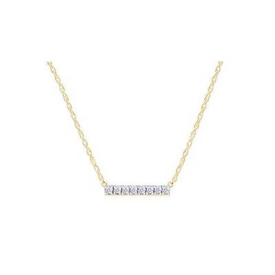 Samaira Jewelry Natural Diamond Bar Horizontal Pendant Necklace in 14k Whit
