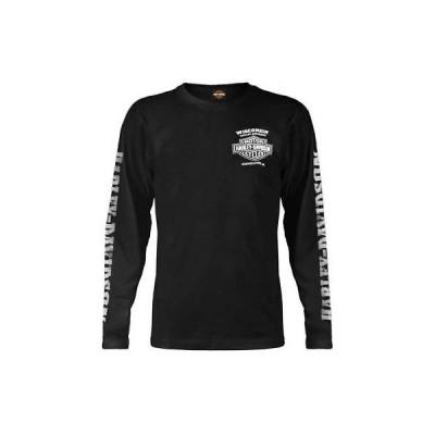 Tシャツ ハーレーダビッドソン Harley-Davidson Men's Skull Lightning Crest Graphic Long Sleeve Shirt, Black
