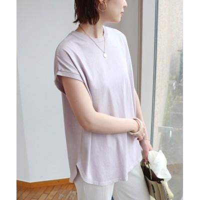 and Me(アンドミー) / ピグメント加工フレンチスリーブ裾ラウンドTシャツチュニック WOMEN トップス > Tシャツ/カットソー