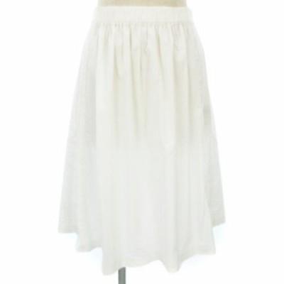 【中古】アンタイトル UNTITLED フレア スカート ひざ丈 薄手 無地 白 ホワイト系 3 レディース