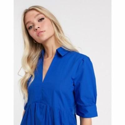 マンゴ Mango レディース ワンピース Vネック ワンピース・ドレス v neck poplin smock dress in blue ブルー