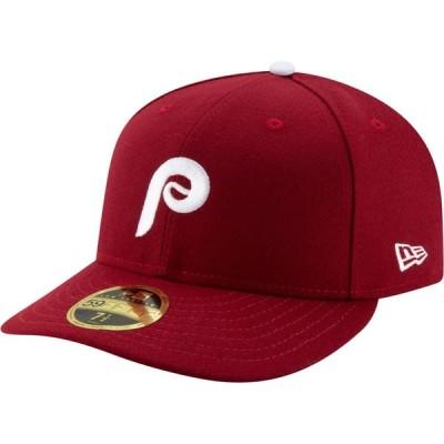 ニューエラ New Era メンズ キャップ 帽子 Philadelphia Phillies 59Fifty Alternate Maroon Low Crown Fitted Hat