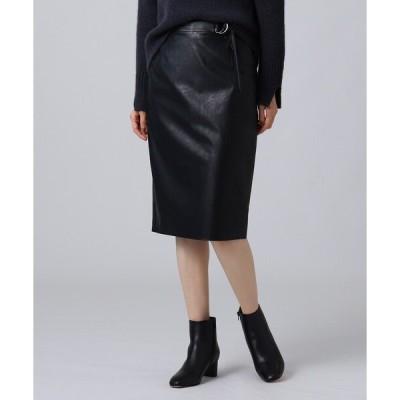 スカート モダンフェイクレザータイトスカート