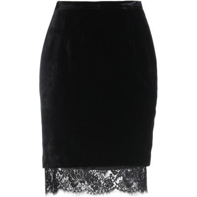 MARIA GRAZIA SEVERI ひざ丈スカート ブラック 42 アセテート 80% / シルク 15% / ナイロン 5% ひざ丈スカート