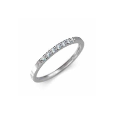 ハーフ エタニティー リング 平打ちの 指輪 k10ホワイトゴールド アクアマリン 3月誕生石 幅リング 微細