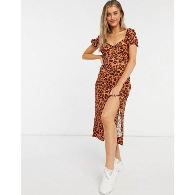フレンチコネクション French Connection レディース ワンピース マキシ丈 ワンピース・ドレス maxi drape leopard dress in orange