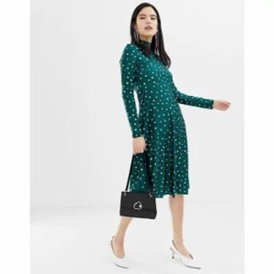 モンキー ワンピース high neck dot print midi dress in green Green