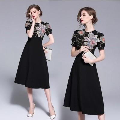 花柄刺繍 半袖ランタンスリーブ ブラック Aラインワンピース ドレス ラウンドネック ハイウエスト フレアスカート ミディ丈