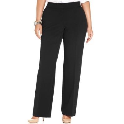 ジェイエムコレクション カジュアルパンツ ボトムス レディース Plus & Petite Plus Size Curvy-Fit Straight-Leg Pants,  Deep Black