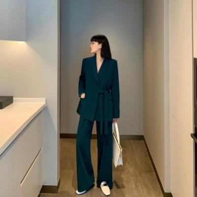 レディースファッション セットアップ パンツ ダブル きれいめ レトロ カジュアル オルチャン 韓国 大きいサイズ
