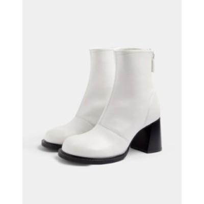 トップショップ レディース ブーツ・レインブーツ シューズ Topshop VILLA White Scoop Toe Boot White