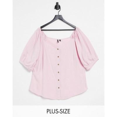 ヴェロモーダ Vero Moda Curve レディース ブラウス・シャツ トップス sweatheart neck top in pink ピンク