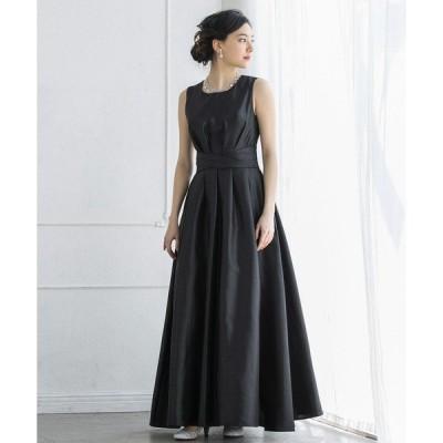 ドレス シャイニーシャンタンフレアロングドレス