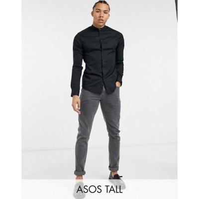 エイソス ASOS DESIGN メンズ シャツ トップス Tall skinny fit shirt with grandad collar in black ブラック
