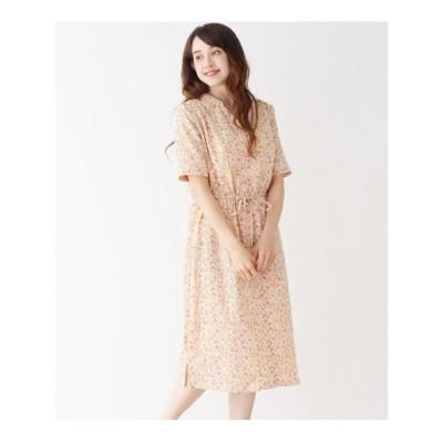 ヴィンテージサテン小花ワンピース (オレンジ(132))