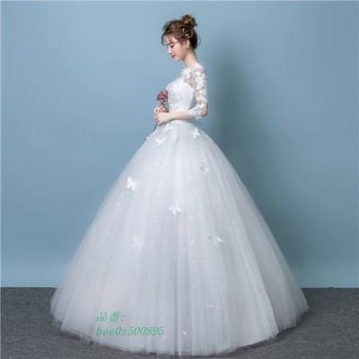 ドレス 格安 ウエディングドレス 白 ドレス 二次会 おしゃれ 袖あり ワンピース ウェディングドレス フォーマル 編み上げタイプ レース 結婚式 花嫁