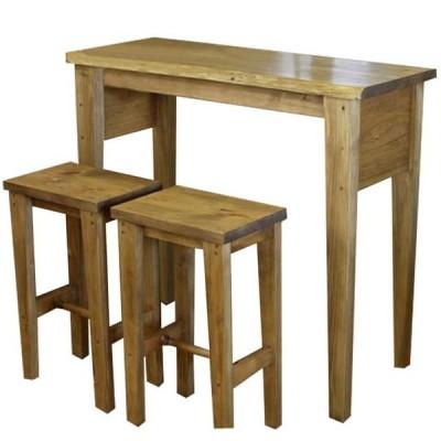 カウンターテーブル&角型スツール アンティークブラウン 102×40×90cm 自然木  2脚セット 下棚なし 木製 ひのき 受注製作