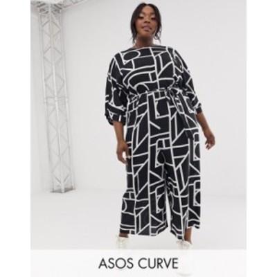 エイソス レディース ワンピース トップス ASOS DESIGN Curve Tie Waist Jumpsuit in mono geo print Mono geo