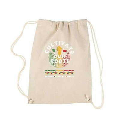 Backpack Cultivate Our Roots  Inspire Educate Unite Natural Drawstring Back
