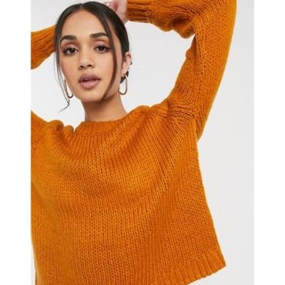 オンリー レディース ニット・セーター アウター Only crew neck long sleeve sweater in pumpkin stone